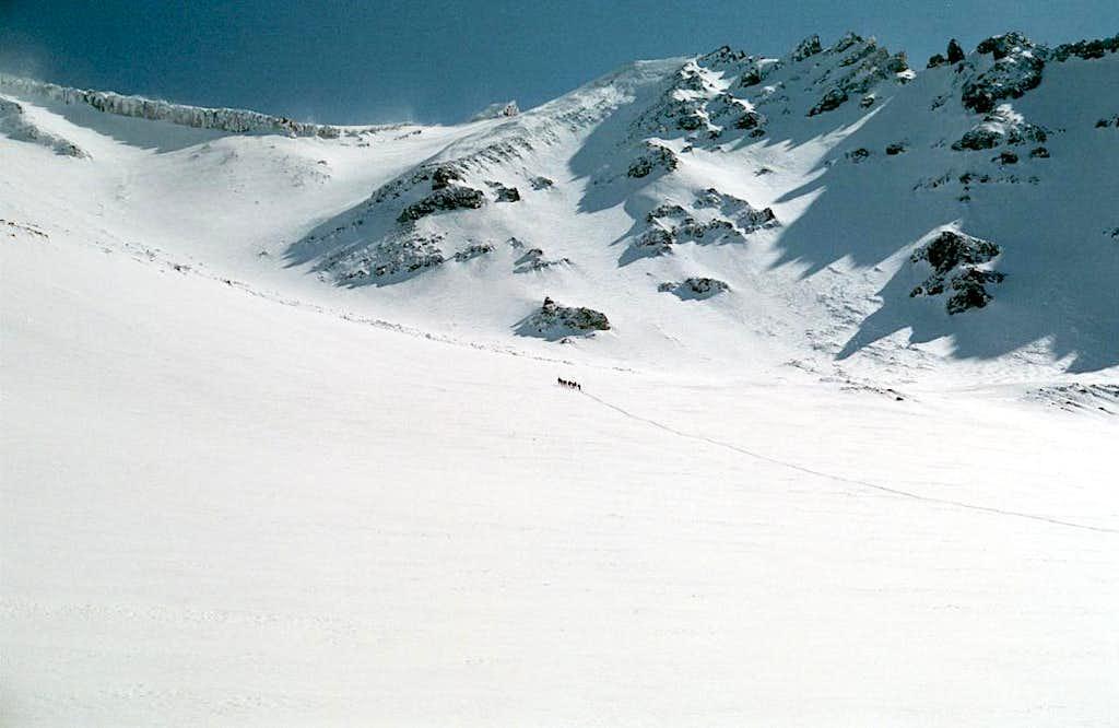 Climbers ascending Avalanche Gulch, Mt Shasta