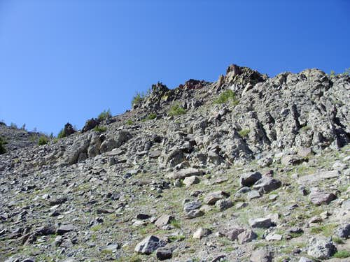 Looking up the rocky slope - alternative option