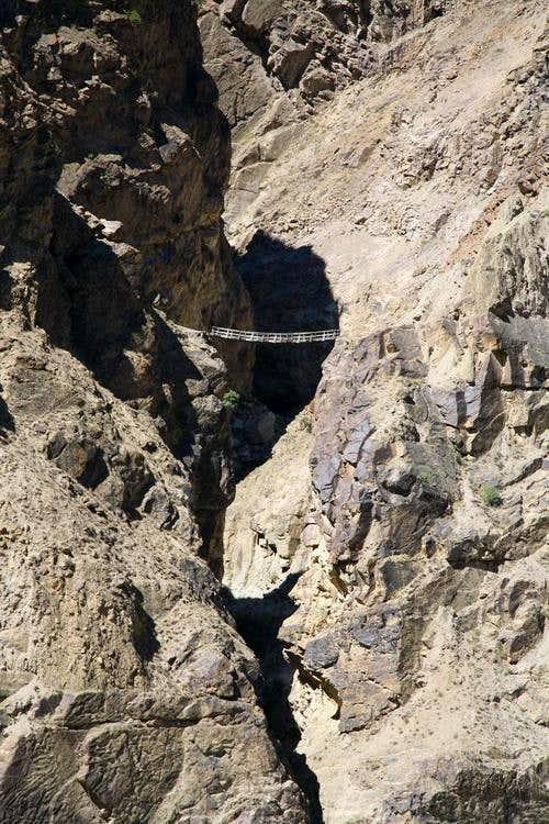 Hanging Bridge along Indus River Gorge near Skardu