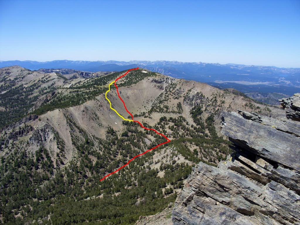 East ridge routes up Mount Houghton