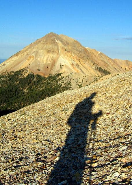 My shadow leading to Mount Baldy