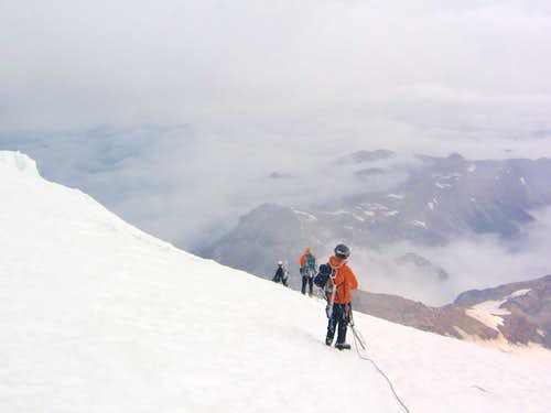 Blown out on Rainier: A Wall of Weather on the Emmons Glacier