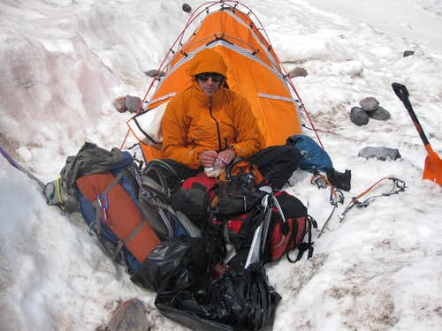 Trying to Keep Warm at Camp Schurman