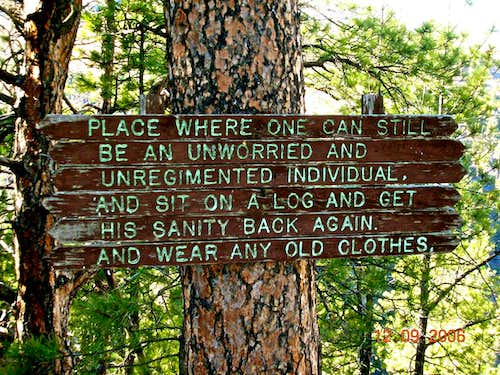 """Sanity"" sign at Lovers Leap"