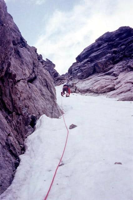 On the North face of Monte Emilius <i>3559m</i><br>at about 300 meters from the bergschrund