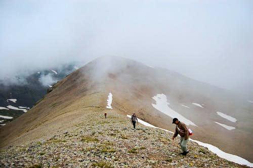 Ascending a ridge in fog