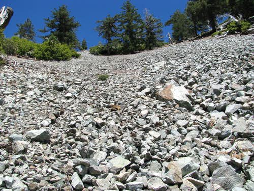 scree gully on Baldy