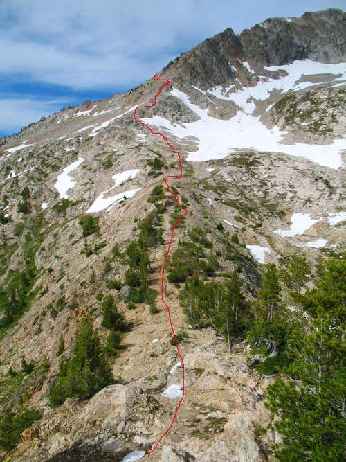 Route up to ridge from pass