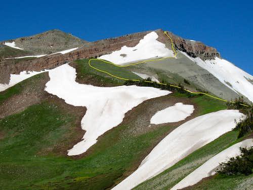 Route up NE Ridge of Hoback Peak