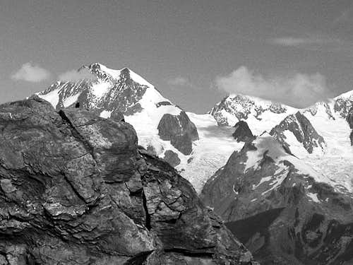 View from Lancebranlette towards summits of the Mont Blanc group
