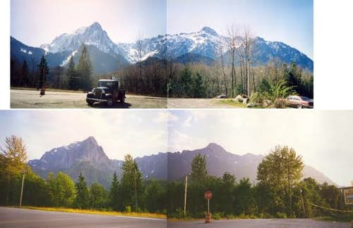 Two views of Mt. Index (L)...