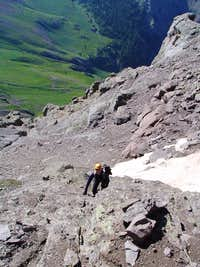 Ascending below Dallas Peak