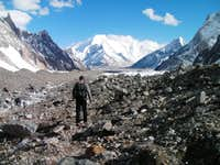 Walking down the Godwin-Austin Glacier