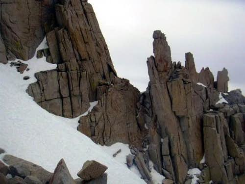 Traversing Buttresses on the Corcoran Traverse