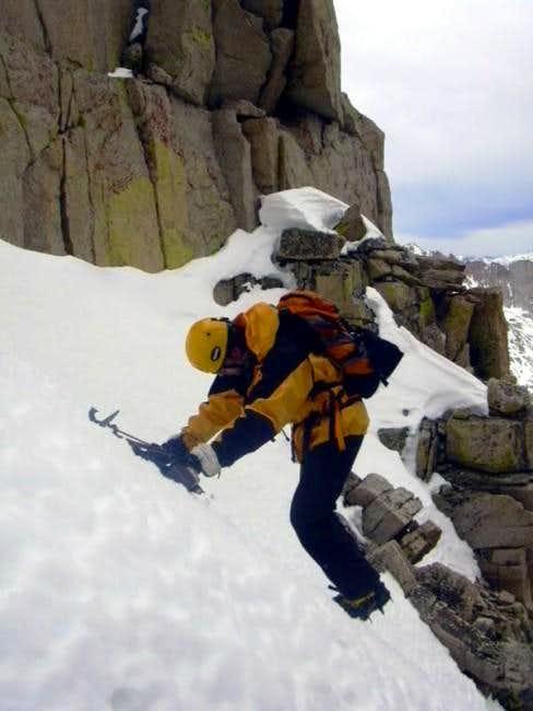 Joel Downclimbing Below the Chockstone (1)