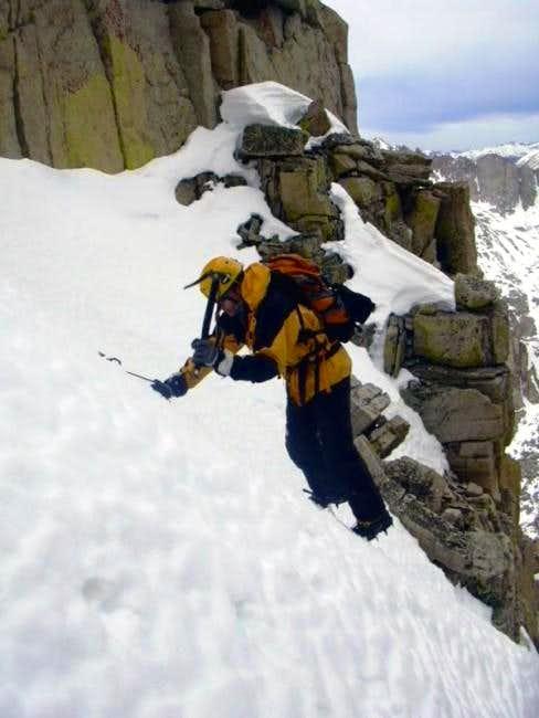 Joel Downclimbing Below the Chockstone (2)