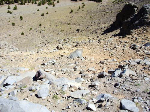 Looking down the scree slope - 7-25-09