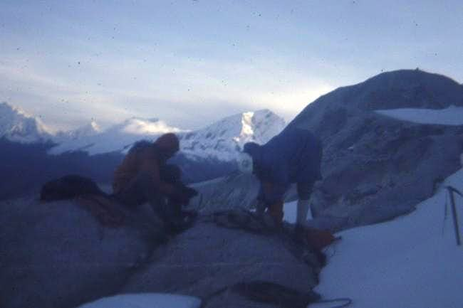 Putting on Crampons before...
