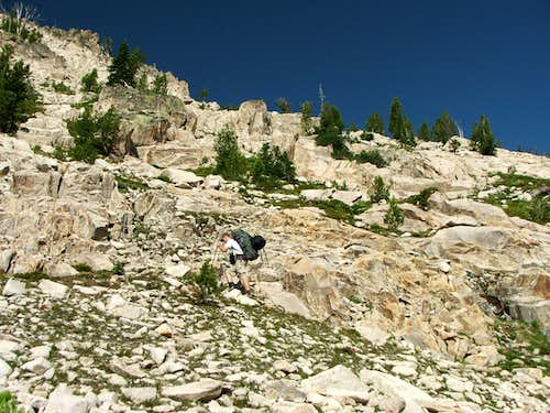 Heading up from Alpine Lakes to the first col
