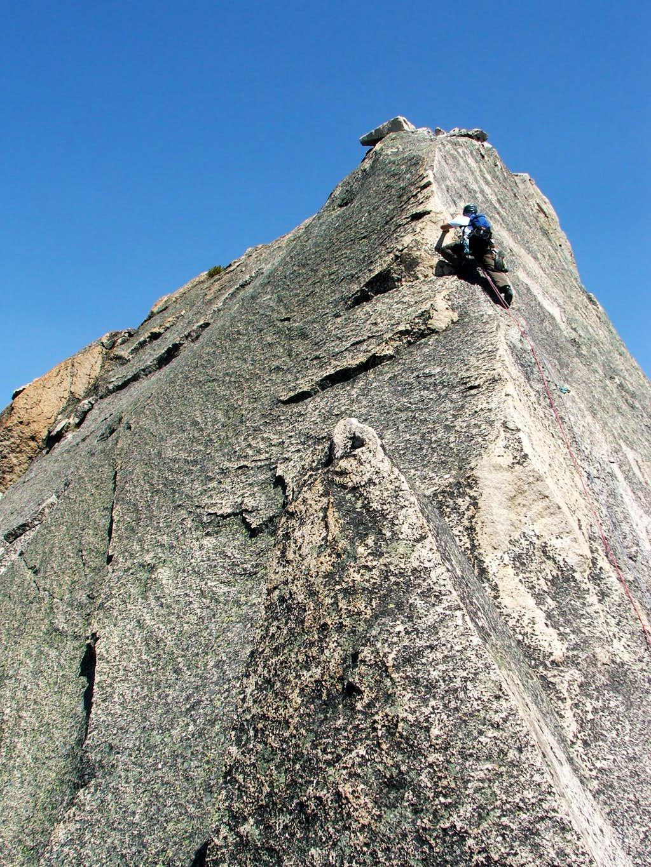 Gaining the ridge on pitch 6