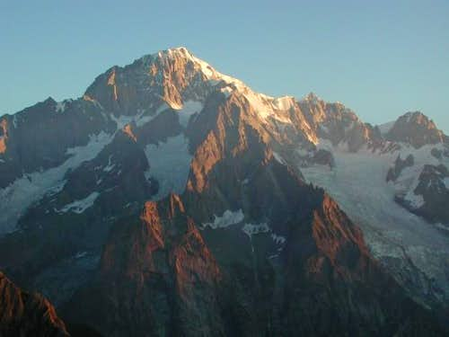 The first rays of sun on the Mont Blanc top