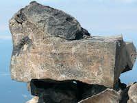 Rock inscribed on Pikers Peak, Mt Adams