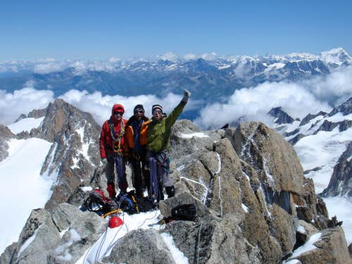 On the summit of Aiguille de Chardonnet