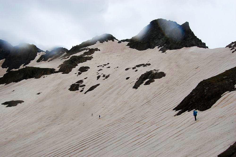 Traversing a steep slope