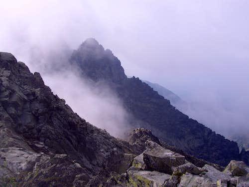 Ťažký štít as seen from Rysy