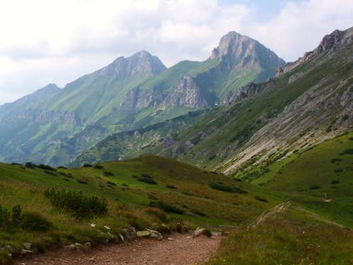 View of the 2 highest peaks of Belianske Tatry as seen from Predné Kopské Sedlo