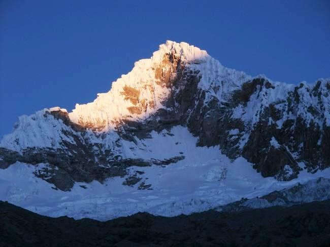 Nevado Quitaraju early in the...