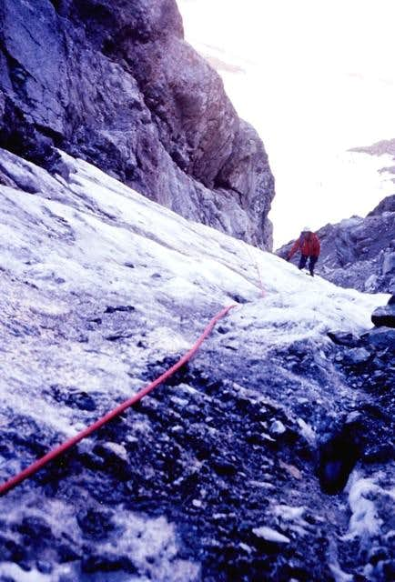 On the North face of Monte Emilius <i>3559m</i><br>at about 200 meters from the bergschrund