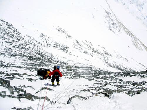 Climbing up to the crest of the Geneva Spur