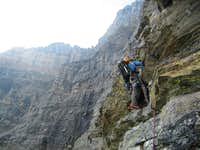 quartzite climbing on the middle part of the rib