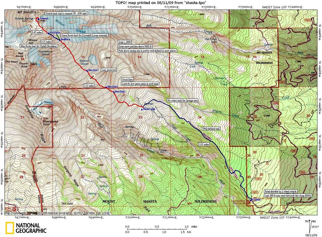 Mount Shasta Clear Creek Route Map  Photos Diagrams  Topos - Mount shasta us map