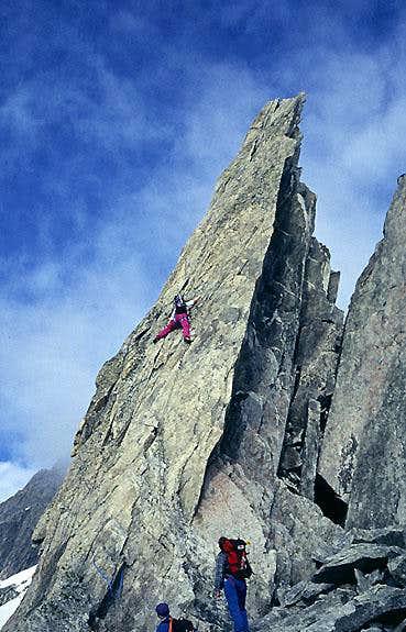 Pitch 1, direct start <br>E. Ridge Grosser Diamantstock.