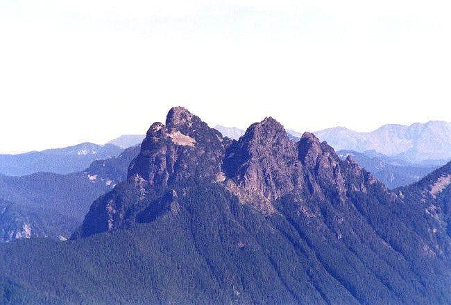 The main and south peaks of...