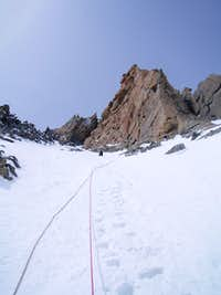 upper snow slopes above the ice pitches