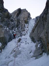 rappeling the upper crux ice pitch