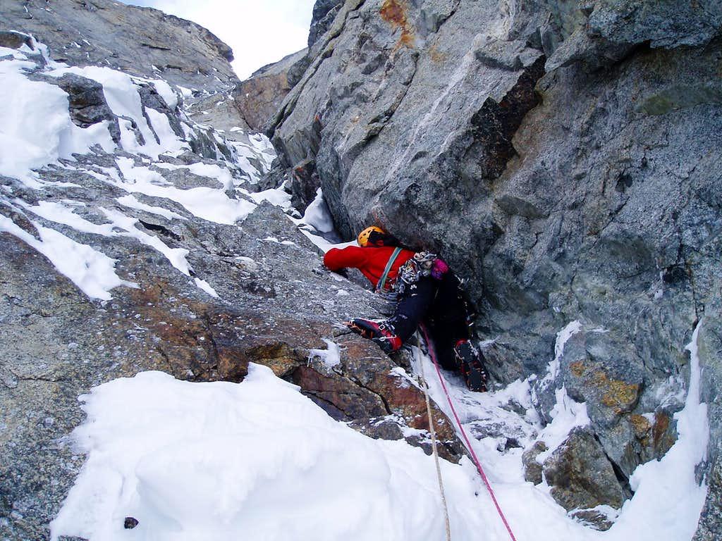 awkward climbing through the wide crack