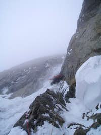 approaching the thin ice pillar crux