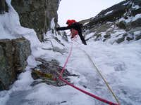 belay in the upper gully system