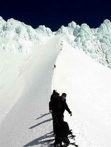 After descending the...