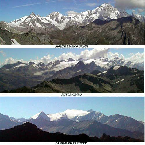 Pano views of:<br> Mont Blanc, Rutor and Grande Sassiere groups