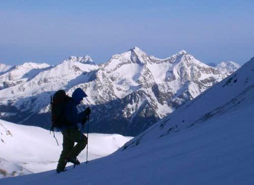 Angi ascends Mt. Yale's...