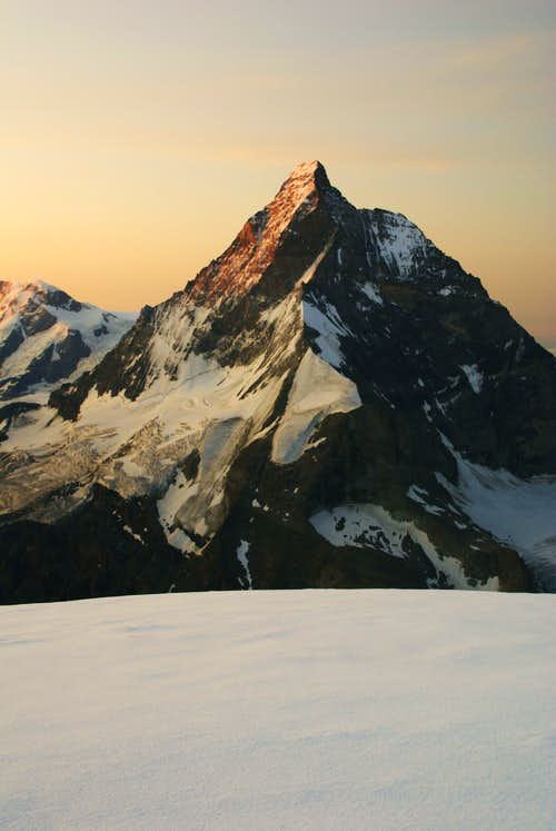 Monte Cervino during sunrise from south ridge to D.Blanche