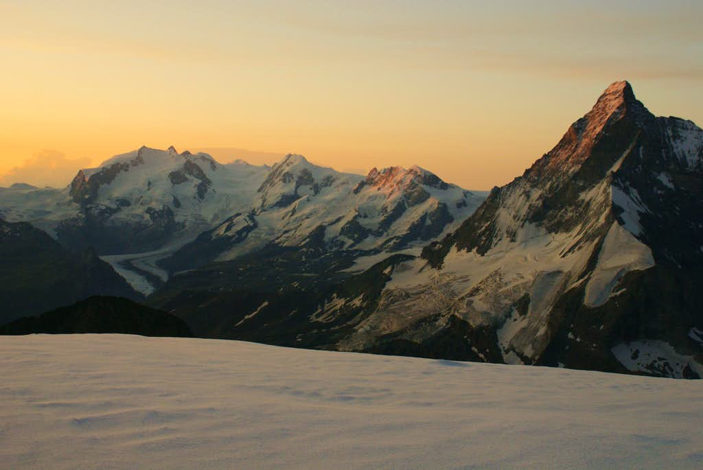 Monte Rosa during sunrise from Dent Blanche ridge