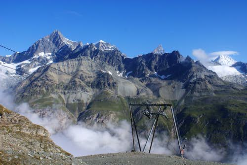 Obergabelhorn, Zinalrothorn and Weisshorn from Hirli