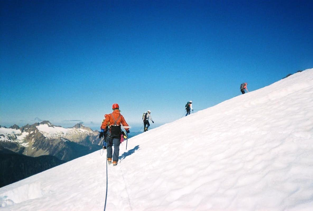 Rope team on glacier