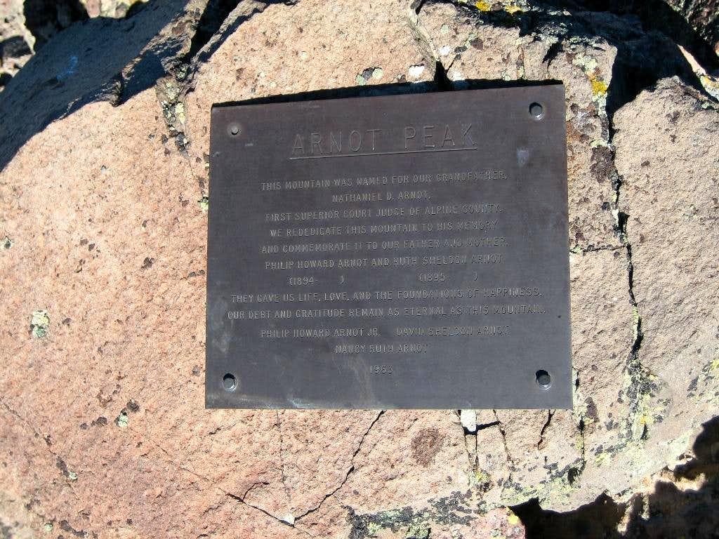 Arnot summit plaque